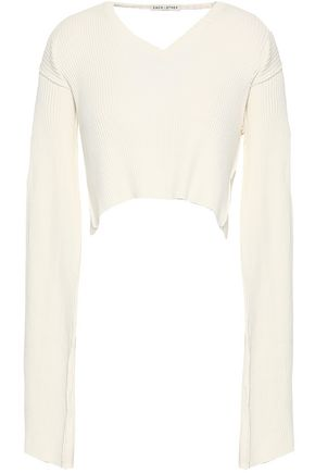 EACH X OTHER Appliquéd cropped cutout ribbed-knit cotton top