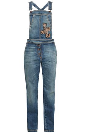 JUST CAVALLI Appliquéd faded denim overalls