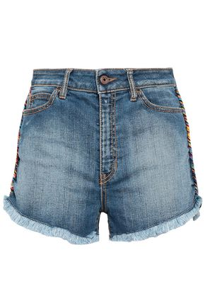 JUST CAVALLI Velvet-trimmed faded denim shorts
