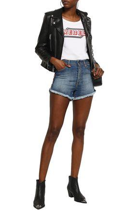JUST CAVALLI Velvet-trimmed faded denim shorts