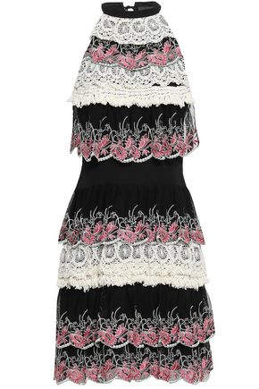 JUST CAVALLI Tiered embroidered crepe and crochet mini dress