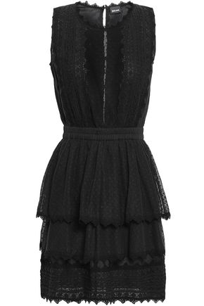 845671bde412 JUST CAVALLI Paneled cotton-lace and point d'esprit peplum mini dress