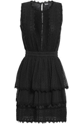 JUST CAVALLI | Just Cavalli Paneled Cotton-Lace And Point D'Esprit Peplum Mini Dress | Goxip