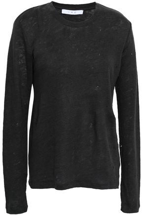 IRO Marvina distressed slub linen-jersey top