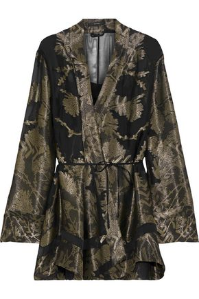 ETRO Metallic fil coupé silk-blend jacquard kimono set