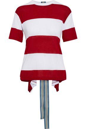 DIANE VON FURSTENBERG Draped striped jersey T-shirt