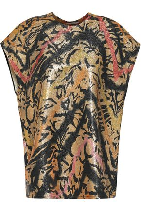 TOME Printed silk-blend lamé top