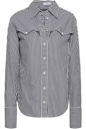 TOME Cutout striped cotton-poplin shirt