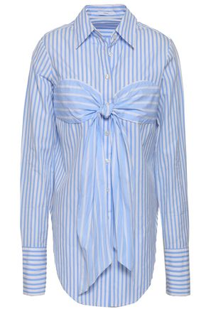 TOME Knotted striped cotton-poplin shirt