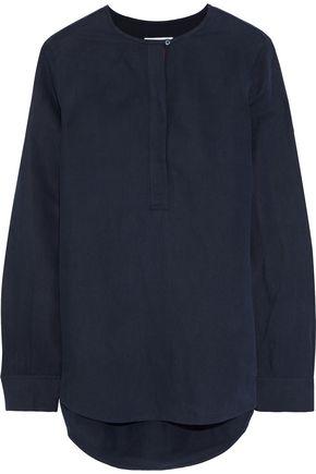 EQUIPMENT Grosgrain-trimmed silk and linen-blend shirt