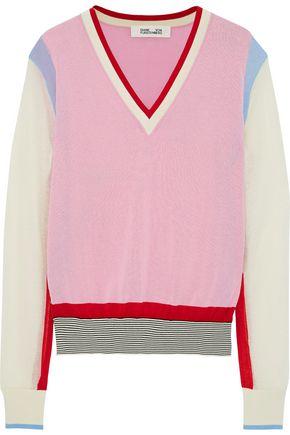 ac2544fec DIANE VON FURSTENBERG Color-block cotton-blend sweater