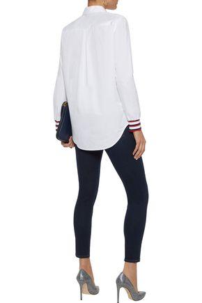 EQUIPMENT Essential striped knit-trimmed cotton-poplin shirt