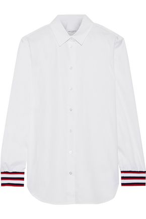EQUIPMENT Essential striped knit-trimmed cotton-poplin shirt