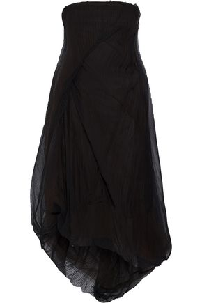 RICK OWENS Strapless plissé-tulle midi dress
