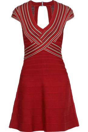HERVÉ LÉGER Cutout striped bandage mini dress