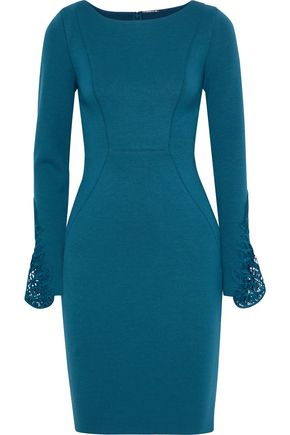 ELIE TAHARI Azura guipure lace-trimmed stretch-jersey dress