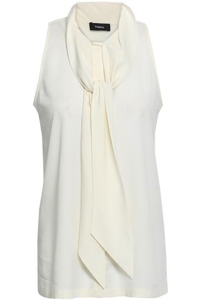 THEORY Stretch-silk crepe halterneck top