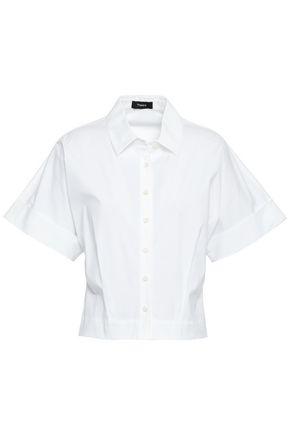 THEORY Cropped cotton-blend poplin shirt