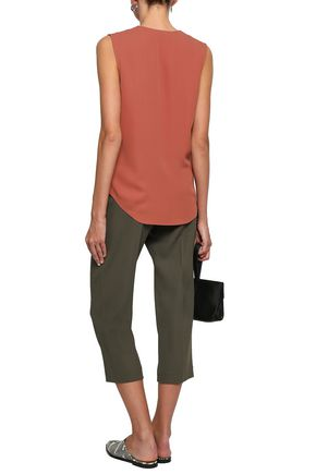 THEORY Wrap-effect silk-crepe top