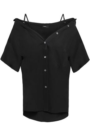 THEORY Cold-shoulder silk-crepe shirt