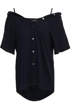THEORY オープンショルダー シルククレープ シャツ