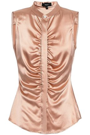 THEORY Ruched silk-blend satin top