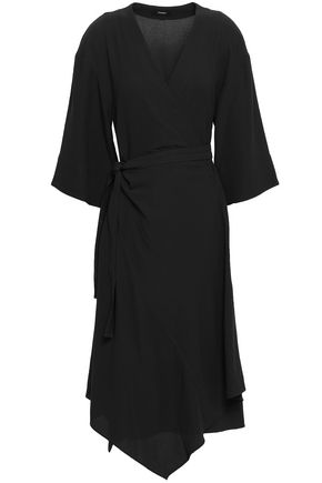 THEORY Crepe midi wrap dress
