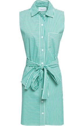 CURRENT/ELLIOTT Belted striped cotton-poplin mini shirt dress