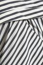 THEORY Asymmetric striped cotton-blend poplin top