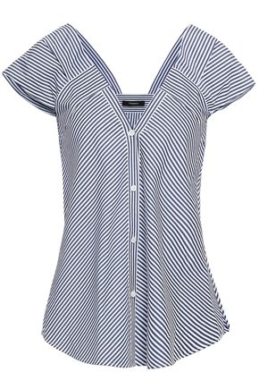 THEORY Striped cotton-poplin shirt