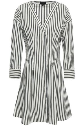 THEORY Striped cotton-blend poplin mini dress
