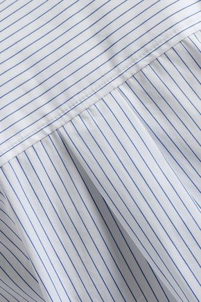 THEORY Lace-up pinstriped cotton-poplin shirt
