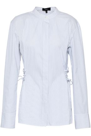 THEORY Lace-up pinstriped cotton-poplin shirt