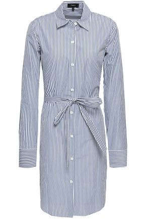 THEORY Striped cotton-blend poplin mini shirt dress