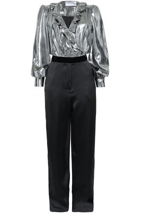 PERSEVERANCE Metallic silk-blend satin-jacquard and crepe jumpsuit