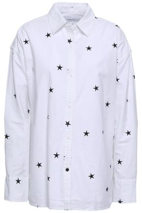 CURRENT/ELLIOTT Printed stretch-cotton poplin shirt
