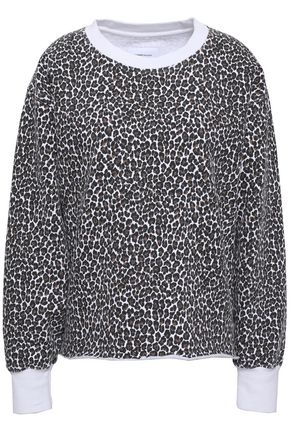CURRENT/ELLIOTT Leopard-print cotton-fleece sweatshirt