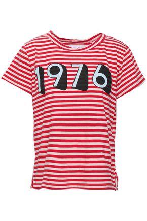 CURRENT/ELLIOTT Printed striped cotton-jersey T-shirt