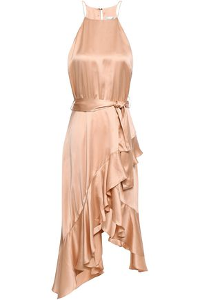 ZIMMERMANN Asymmetric ruffled silk-satin dress