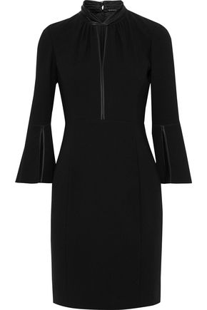 ELIE TAHARI Dorothea cutout satin-trimmed crepe mini dress