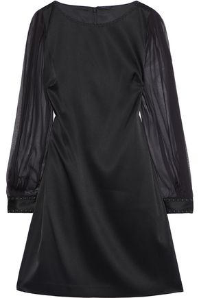 ELIE TAHARI Jilly studded chiffon-paneled satin-crepe mini dress