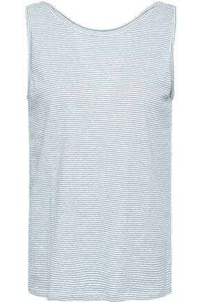 THEORY Striped slub linen-blend jersey tank