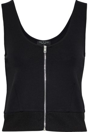 RAG & BONE Mara cropped zip-detailed stretch-knit tank