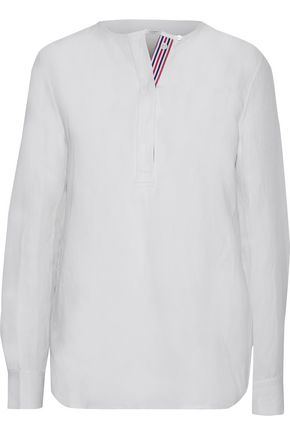 EQUIPMENT Grosgrain-trimmed silk and linen-blend shirt