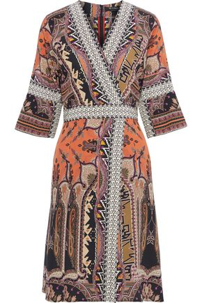 ETRO Wrap-effect printed silk dress