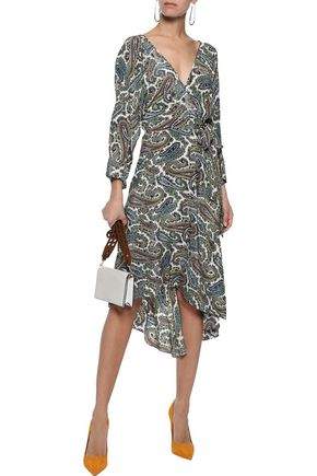 DIANE VON FURSTENBERG Eloise asymmetric printed silk crepe de chine wrap dress