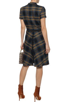 ETRO Paneled checked wool and linen-blend tweed dress