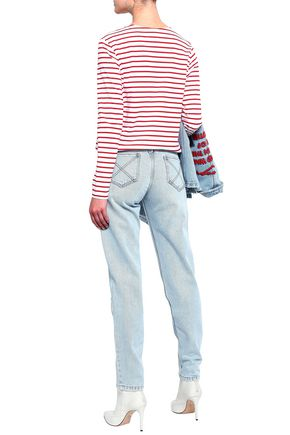 EACH X OTHER Printed striped cotton-jersey T-shirt