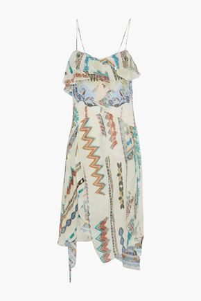 ETRO Ruffled printed silk-gauze dress