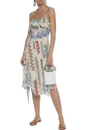ETRO Ruffled printed silk-gauze dress